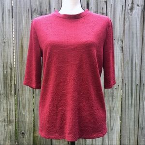 Trouve · Red Half Sleeve Textured Top Sz L